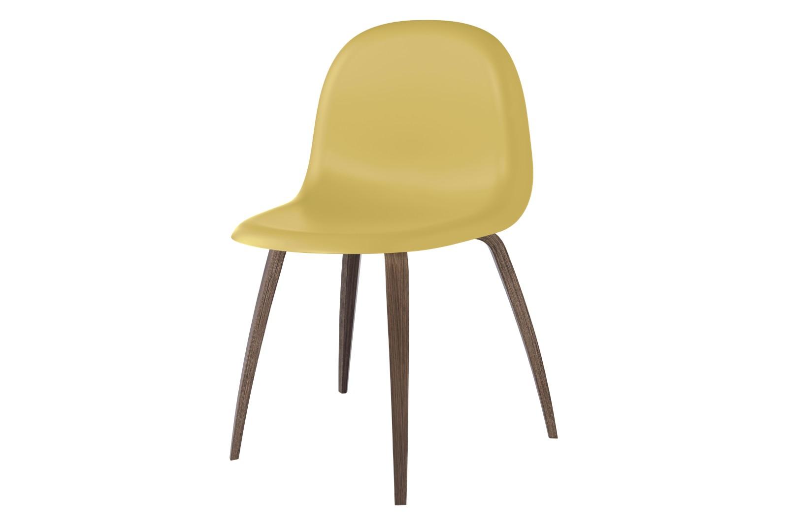 3D Dining Chair - Un-Upholstered, Wood Base Gubi HiRek Venetian Gold, Gubi Wood American Walnut, Fel