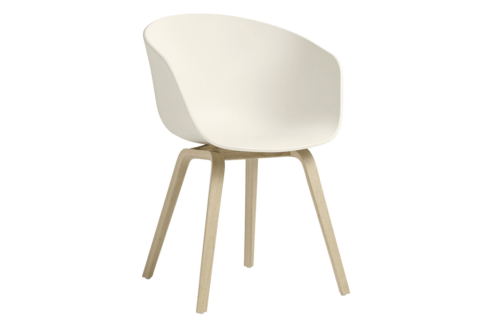 AAC 22 Dining Chair Wood Matt Oak, Plastic Cream White