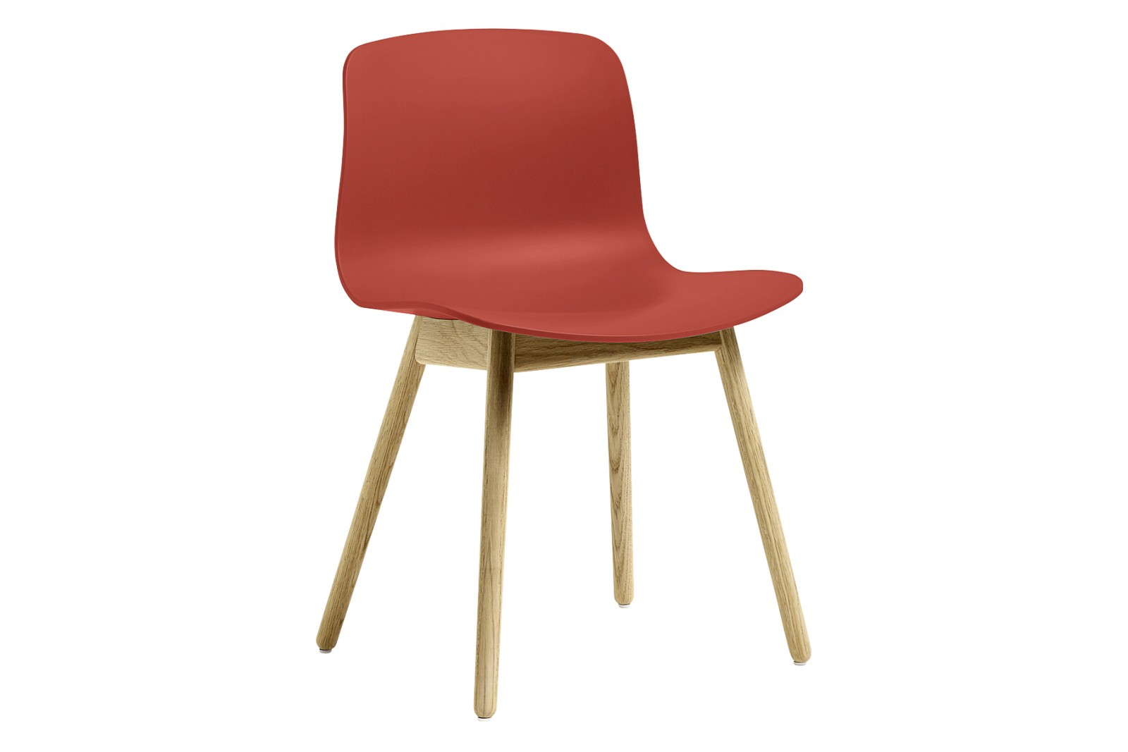 AAC 12 Dining Chair Wood Clear Oak, Plastic Warm Red