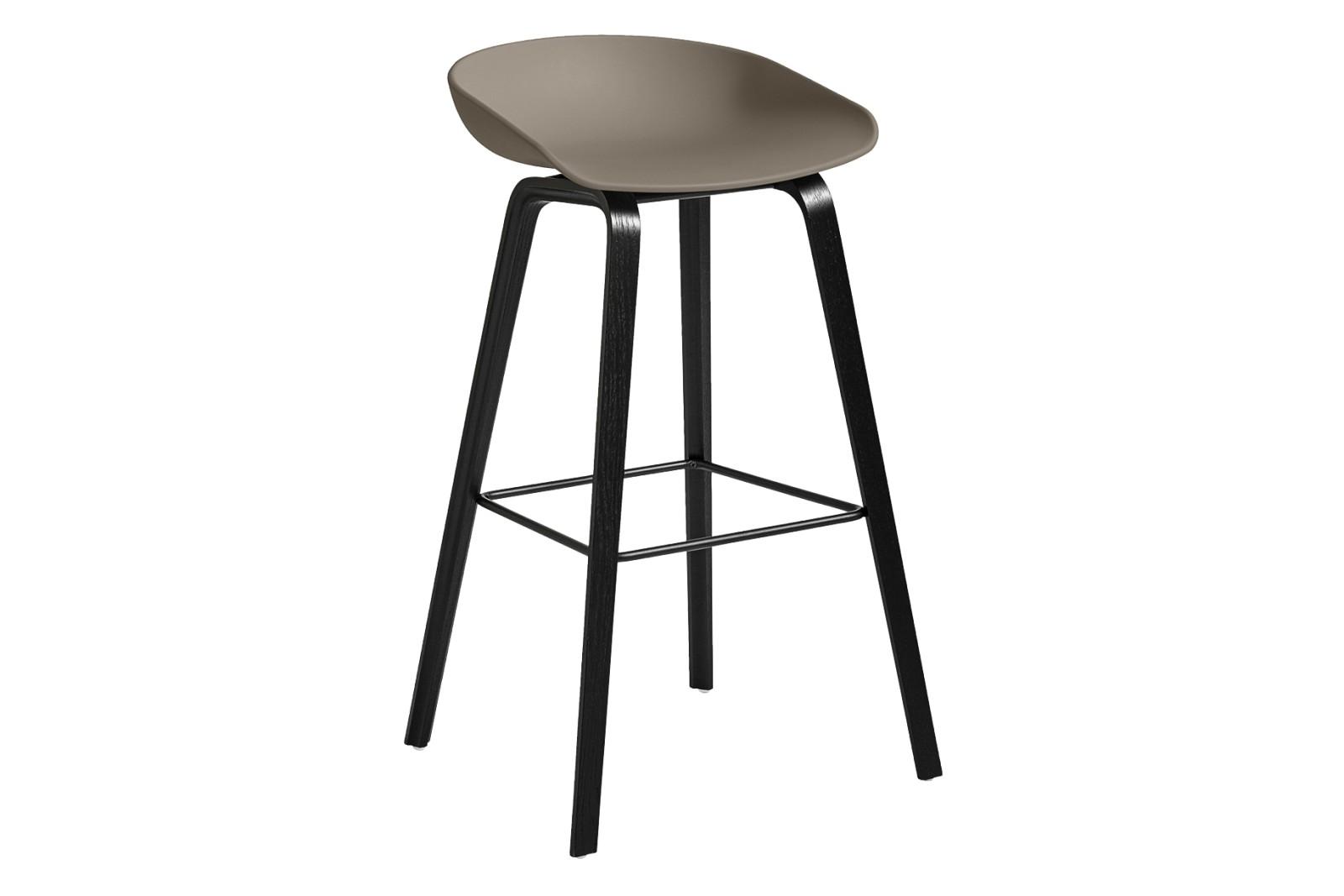 AAS 32 High Stool Plastic Khaki, Wood Black Oak, Metal Black
