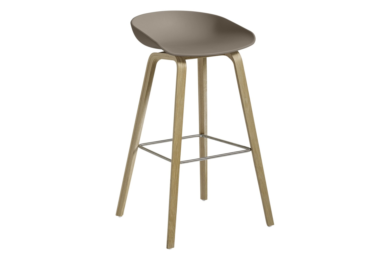 AAS 32 High Stool Plastic Khaki, Wood Soaped Oak, Metal Stainless Steel