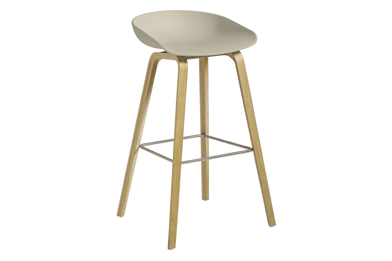 AAS 32 High Stool Plastic Pastel Green, Wood Clear Oak, Metal Stainless Steel