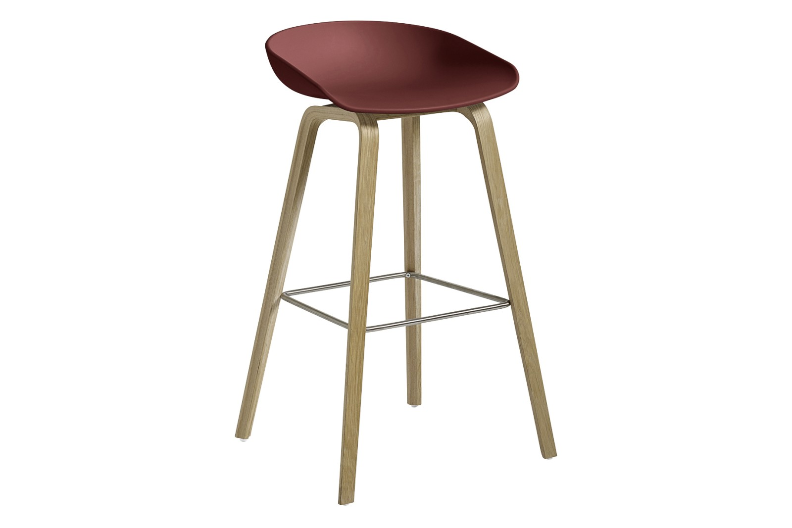 AAS 32 High Stool Plastic Brick, Wood Soaped Oak, Metal Stainless Steel