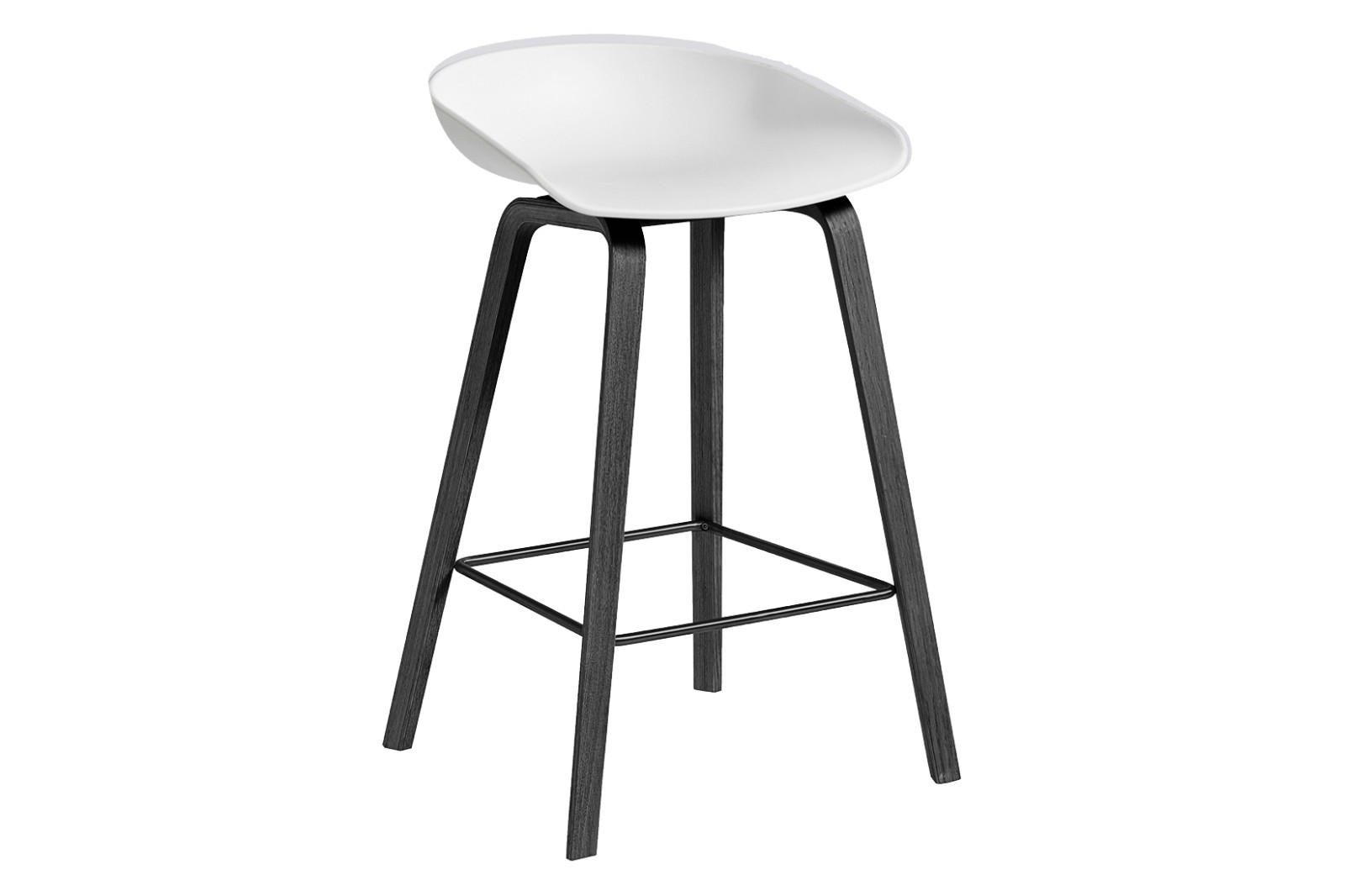 AAS 32 Low Stool Plastic White, Wood Black Oak, Metal Black