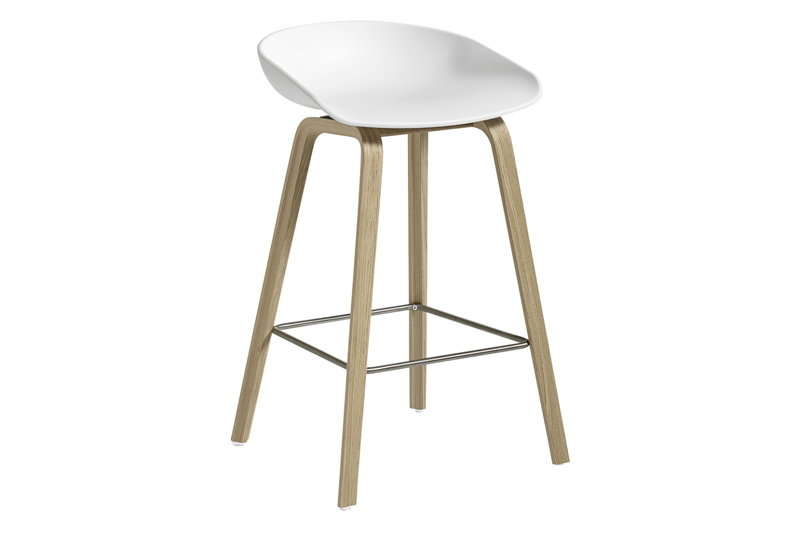 AAS 32 Low Stool Plastic White, Wood Matt Oak, Metal Stainless Steel