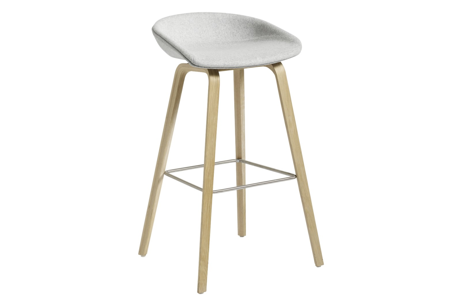 AAS 33 High Bar Stool Fabric Group 3, Wood Soaped Oak, Metal Stainless Steel