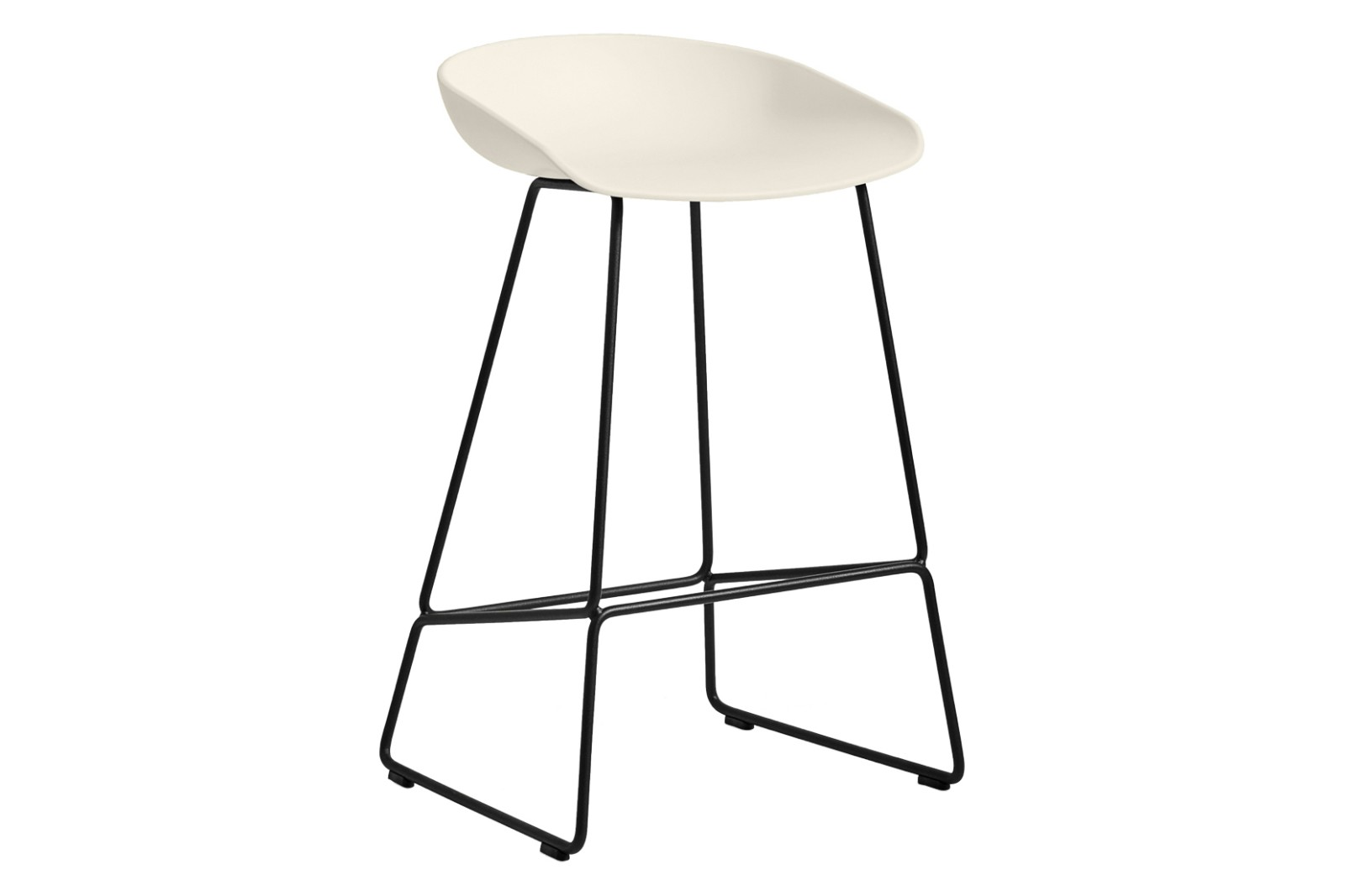 AAS 38 Low Stool Metal Black, Plastic Cream White