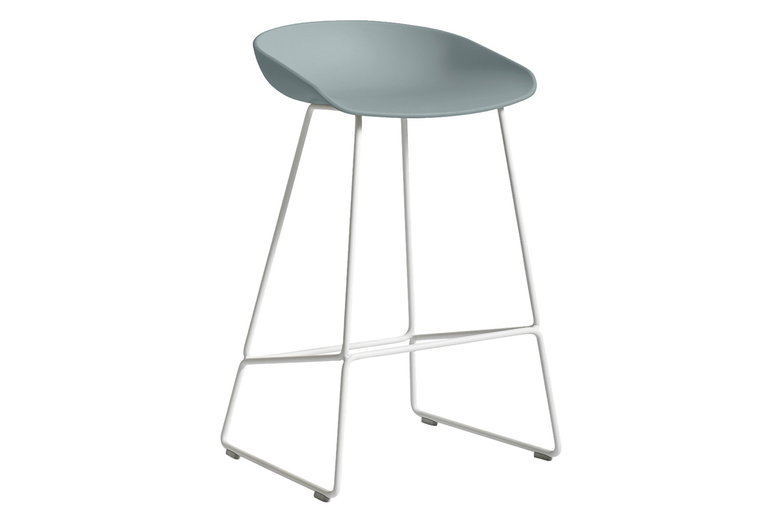 AAS 38 Low Stool Metal White, Plastic Dusty Blue