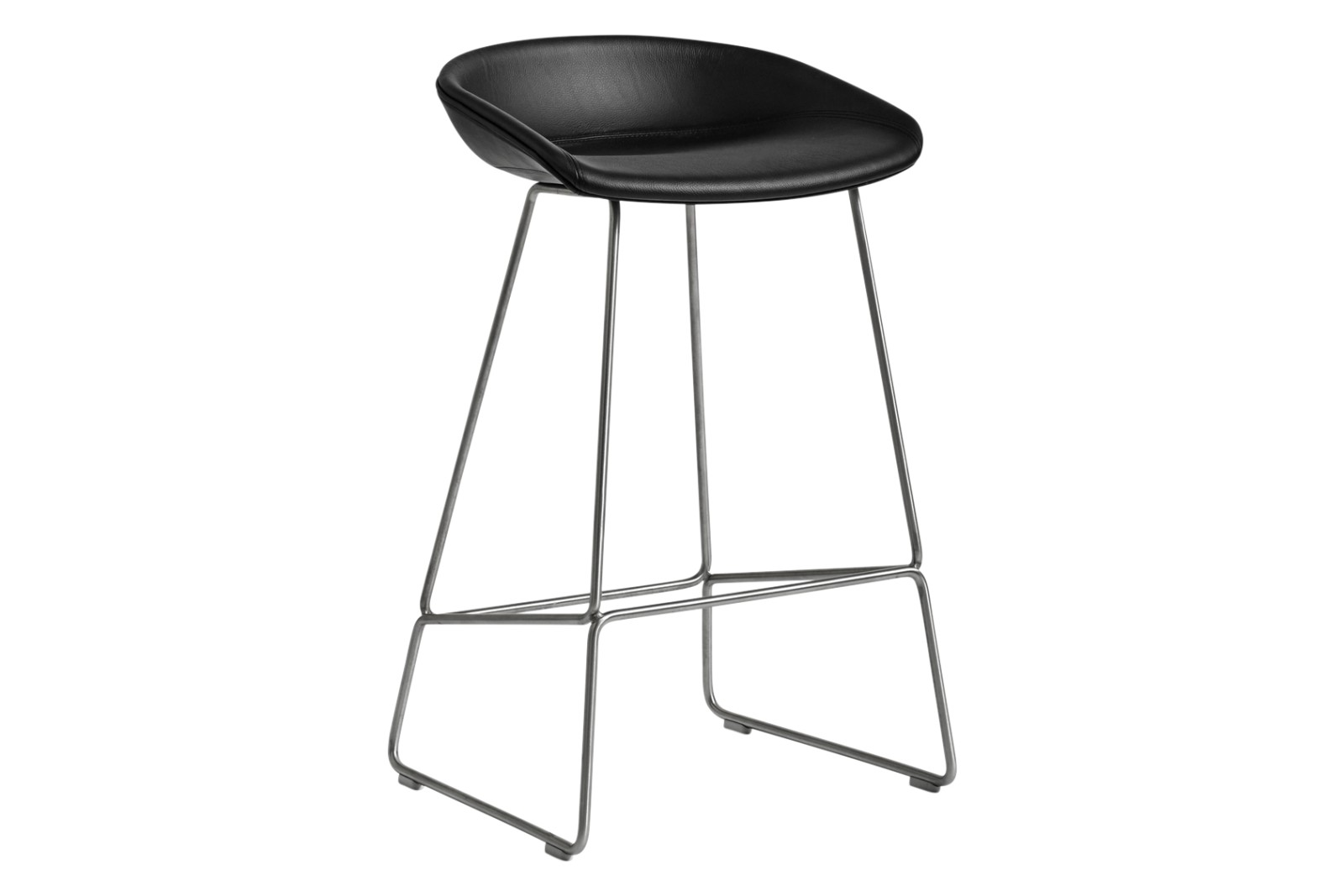 AAS 39 Low Bar Stool Fabric Group 1, Metal Stainless Steel