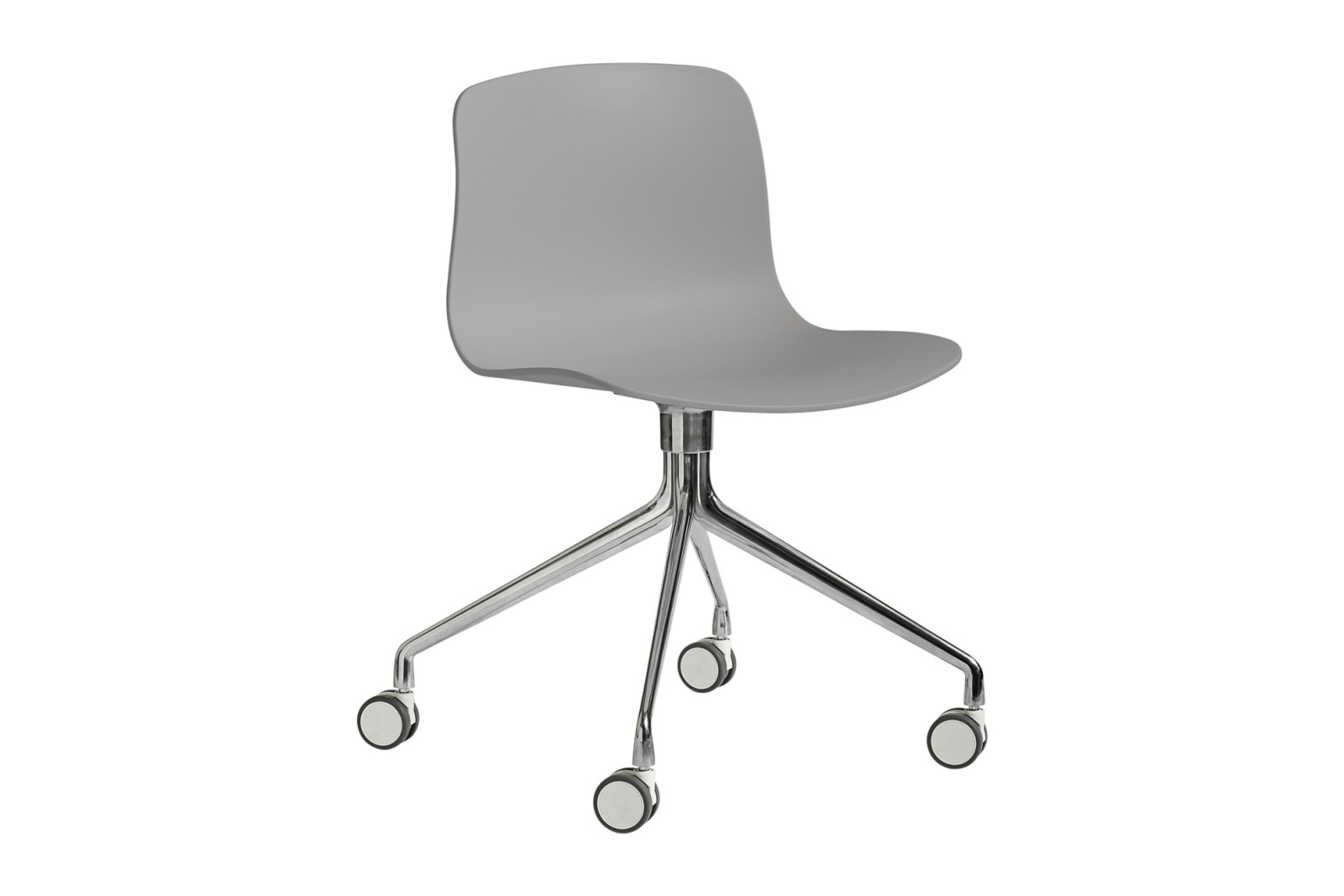 AAC 14 Meeting Chair Metal Polished Aluminium, Plastic Concrete Grey