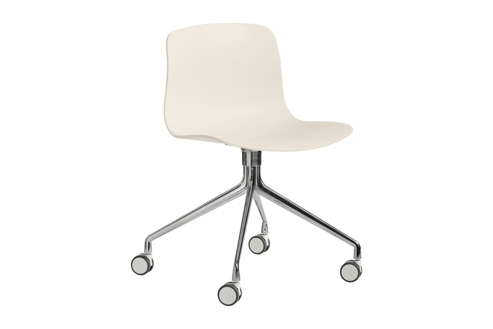 AAC 14 Meeting Chair Metal Polished Aluminium, Plastic Cream White