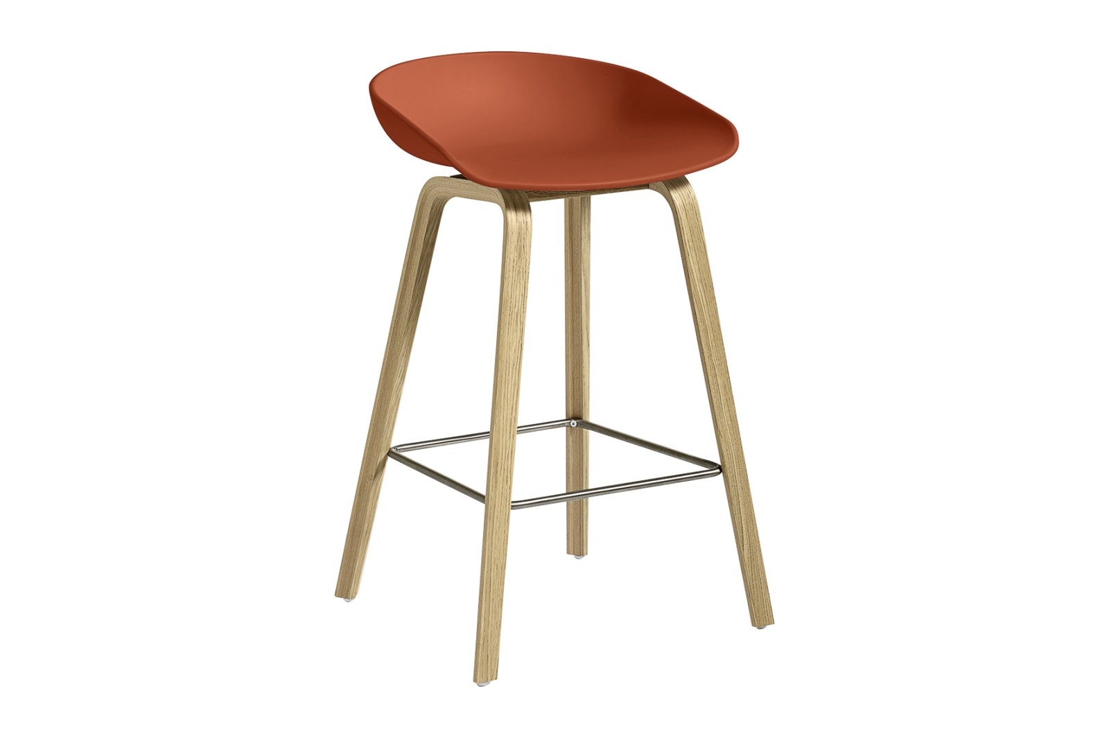 About A Stool AAS32 Clear Lacquered Oak Base, Orange Seat, Low, Stainless Steel