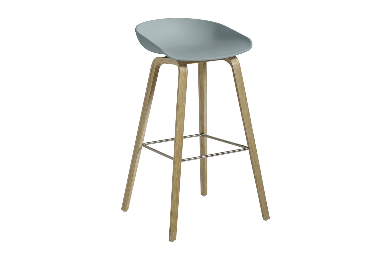 About A Stool AAS32 Soap Treated Oak Base, Dusty Blue Seat, High, Stainless Steel