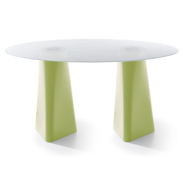 Adam Oval Dining Table Pastel Green, White Crystal Glass, 102cm