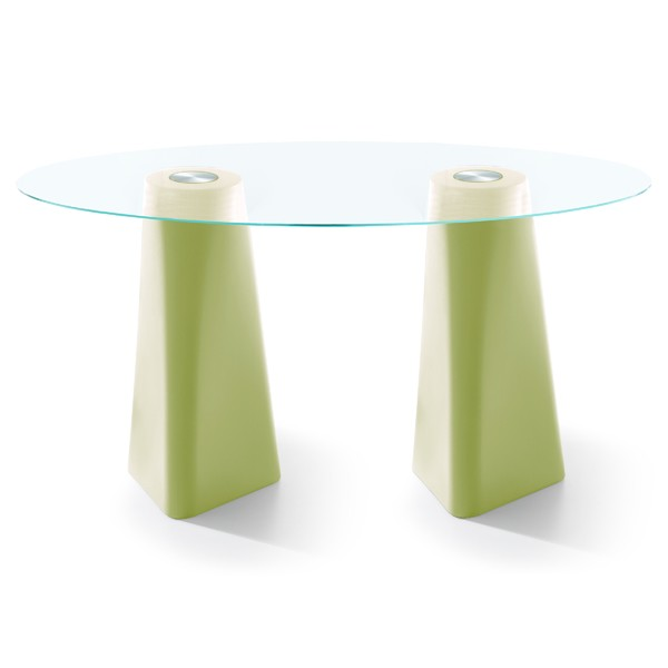 Adam Oval Dining Table Pastel Green, Clear Crystal Glass, 102cm