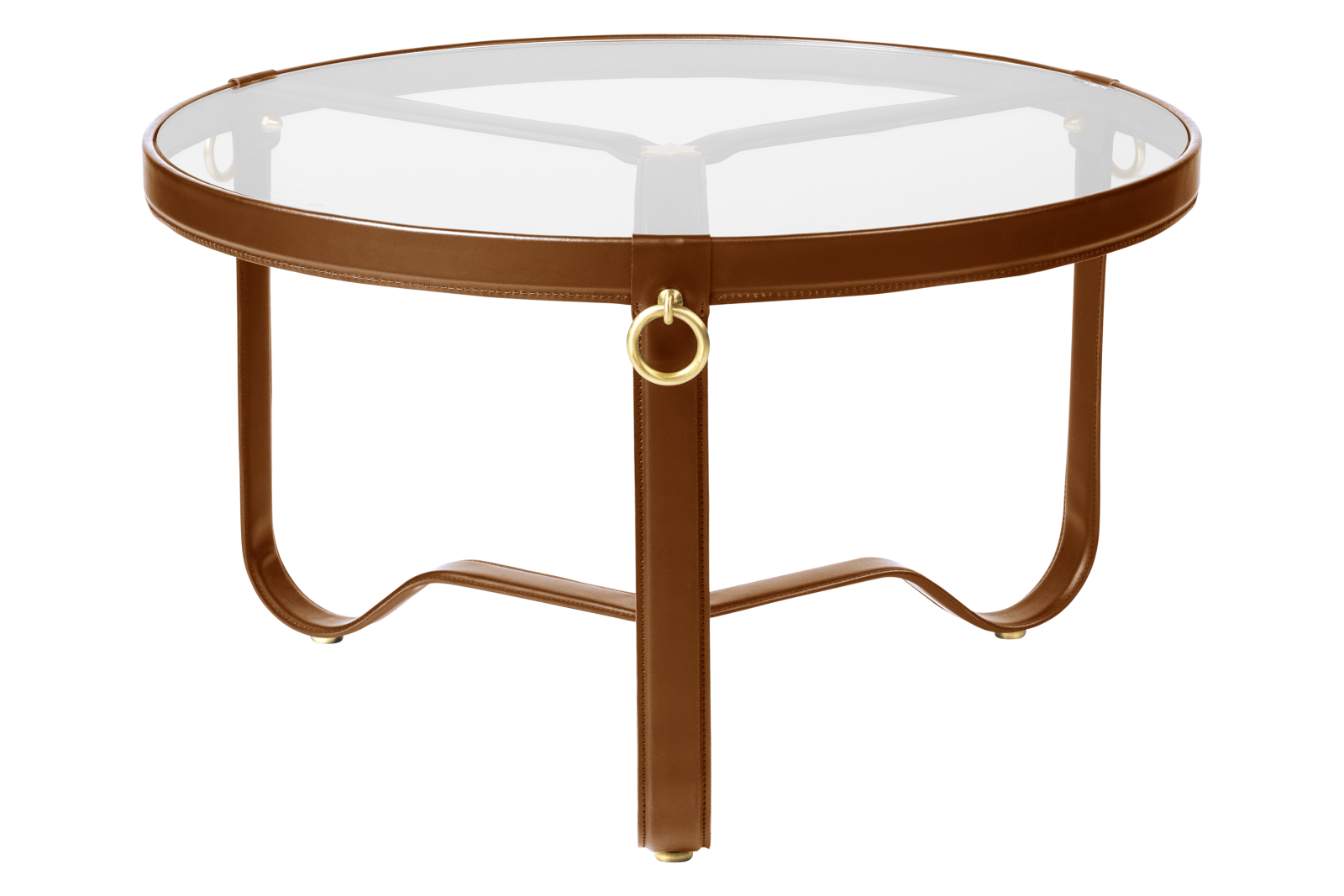 Adnet Circular Coffee Table Gubi Leather Tan, 70cm