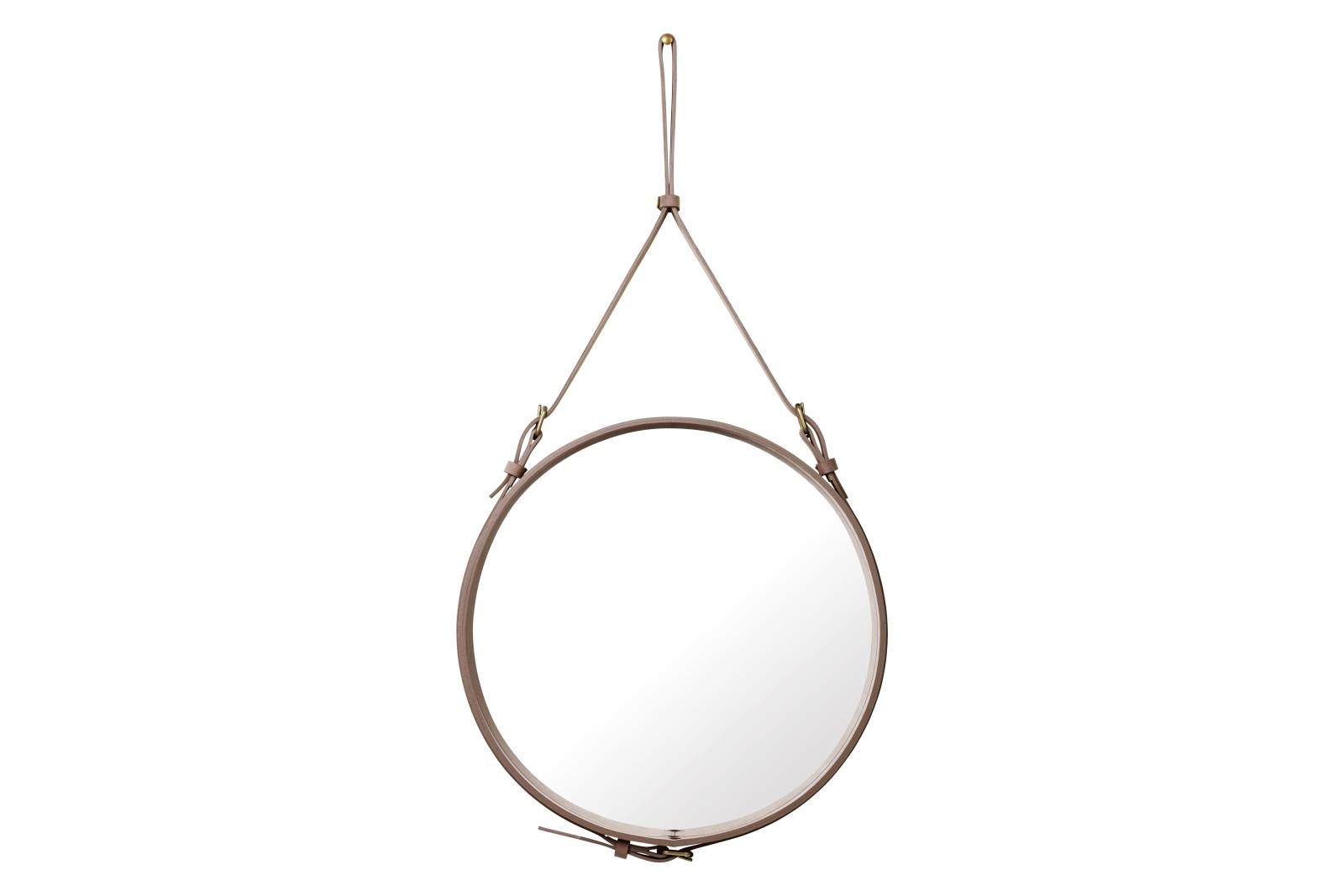 Adnet Wall Mirror, Circular, Ø58 Alcantara (Dusty Cedar)