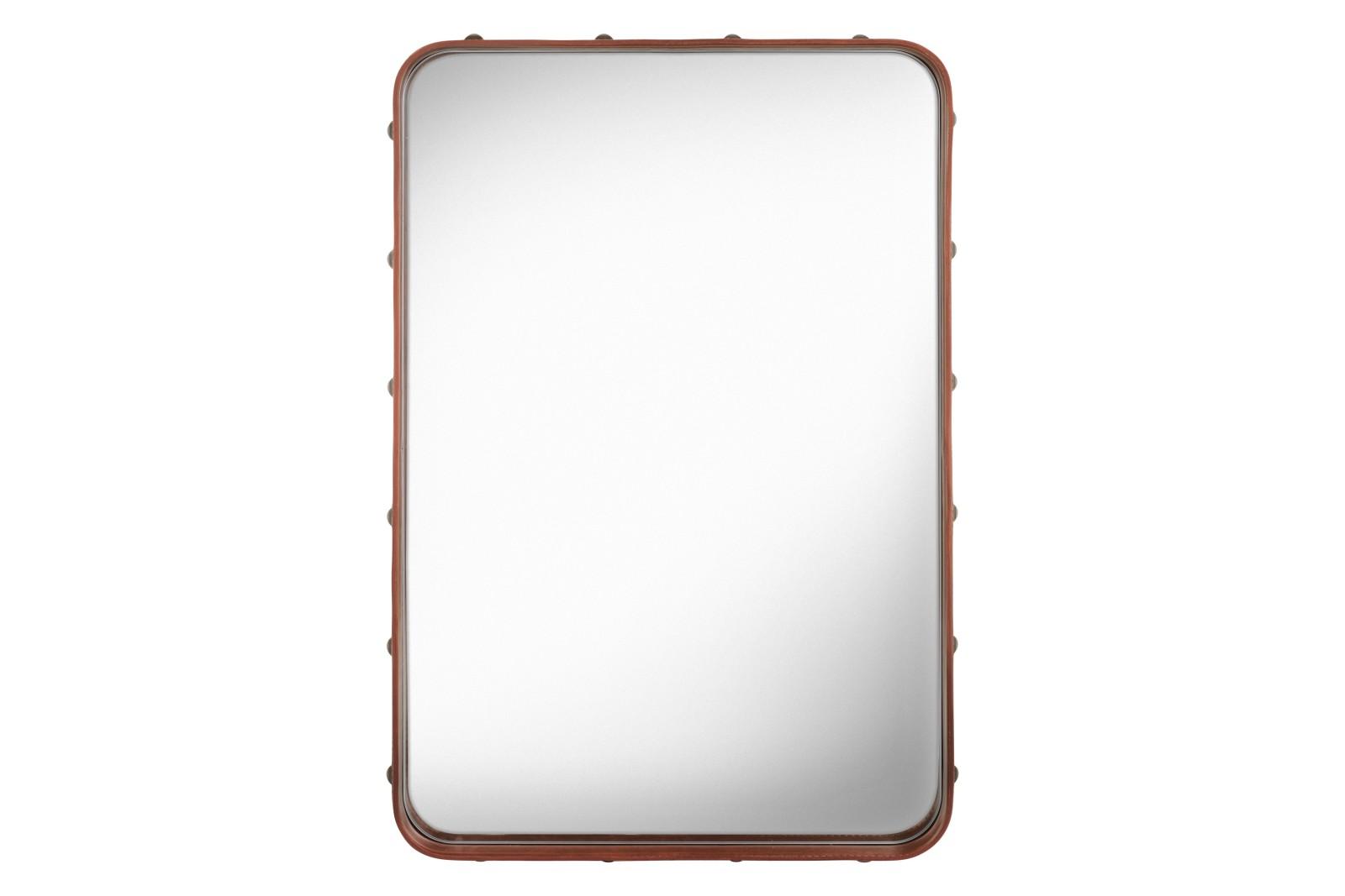 Adnet Wall Mirror, Rectangular, 50x70 Tan leather
