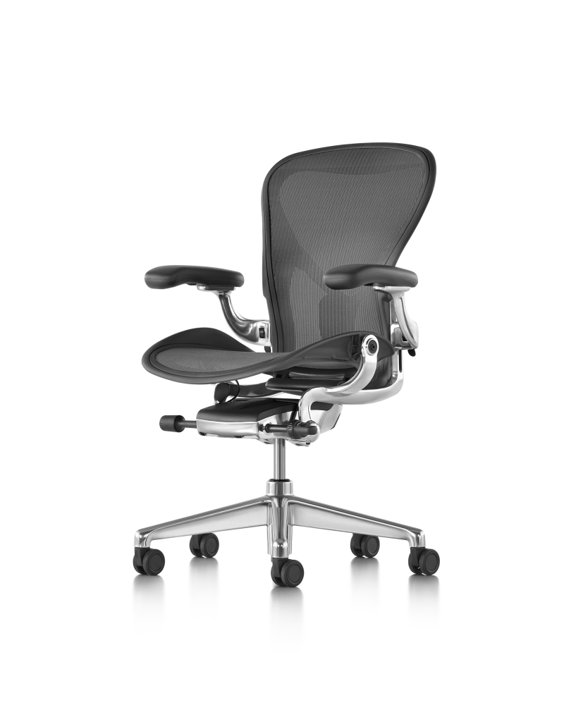 Aeron Task Chair Polished Aluminium Base with Graphite Seat