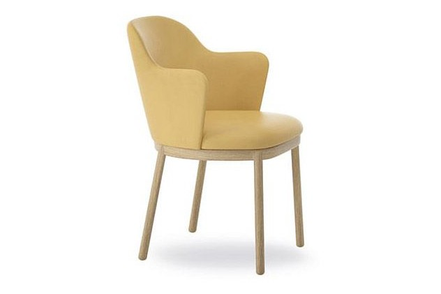 Aleta Chair with Armrest Wooden Base Pricegrp. G4, Matt Oak, Black