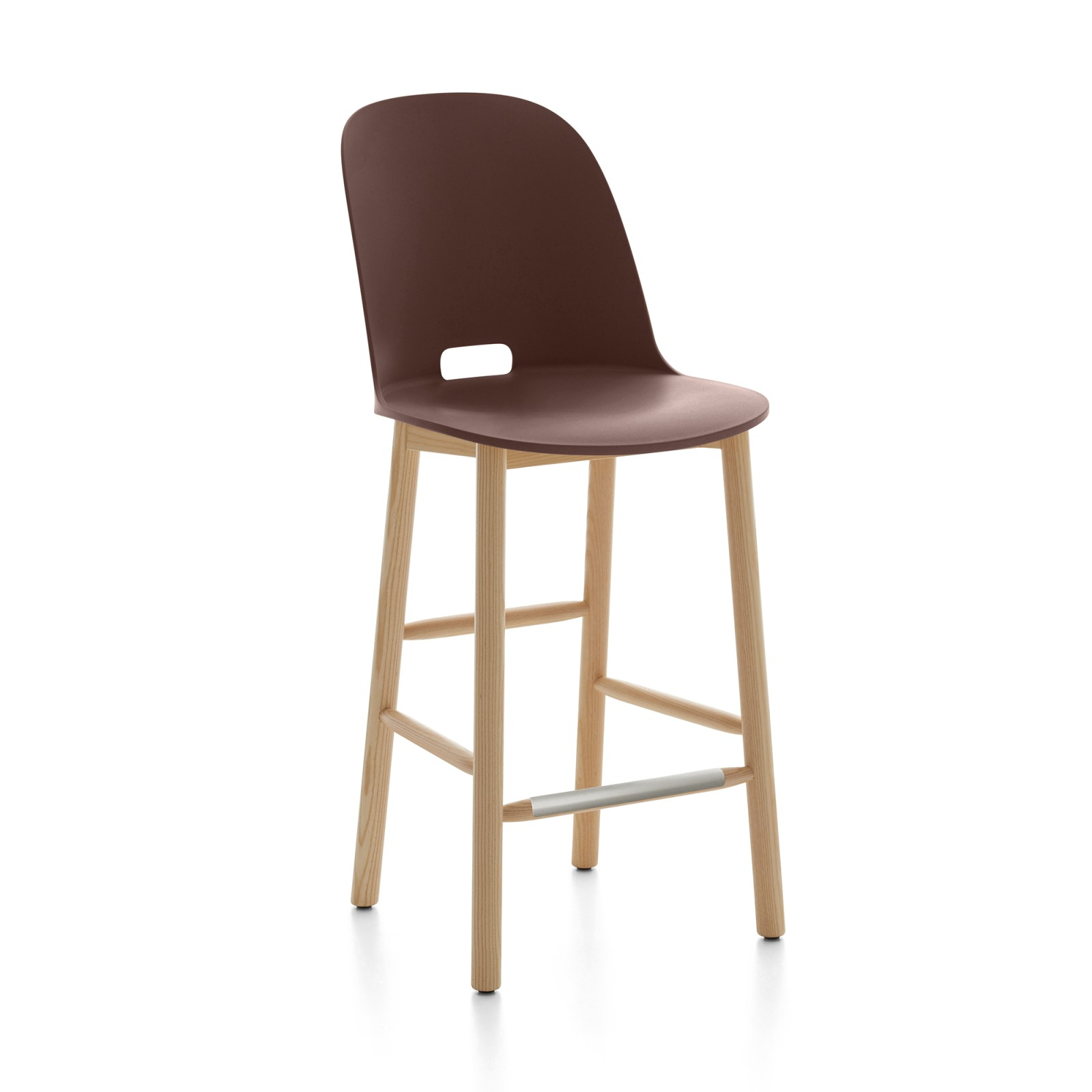 Alfi Counter Stool, High Back Dark Brown, Natural Light Ash Frame