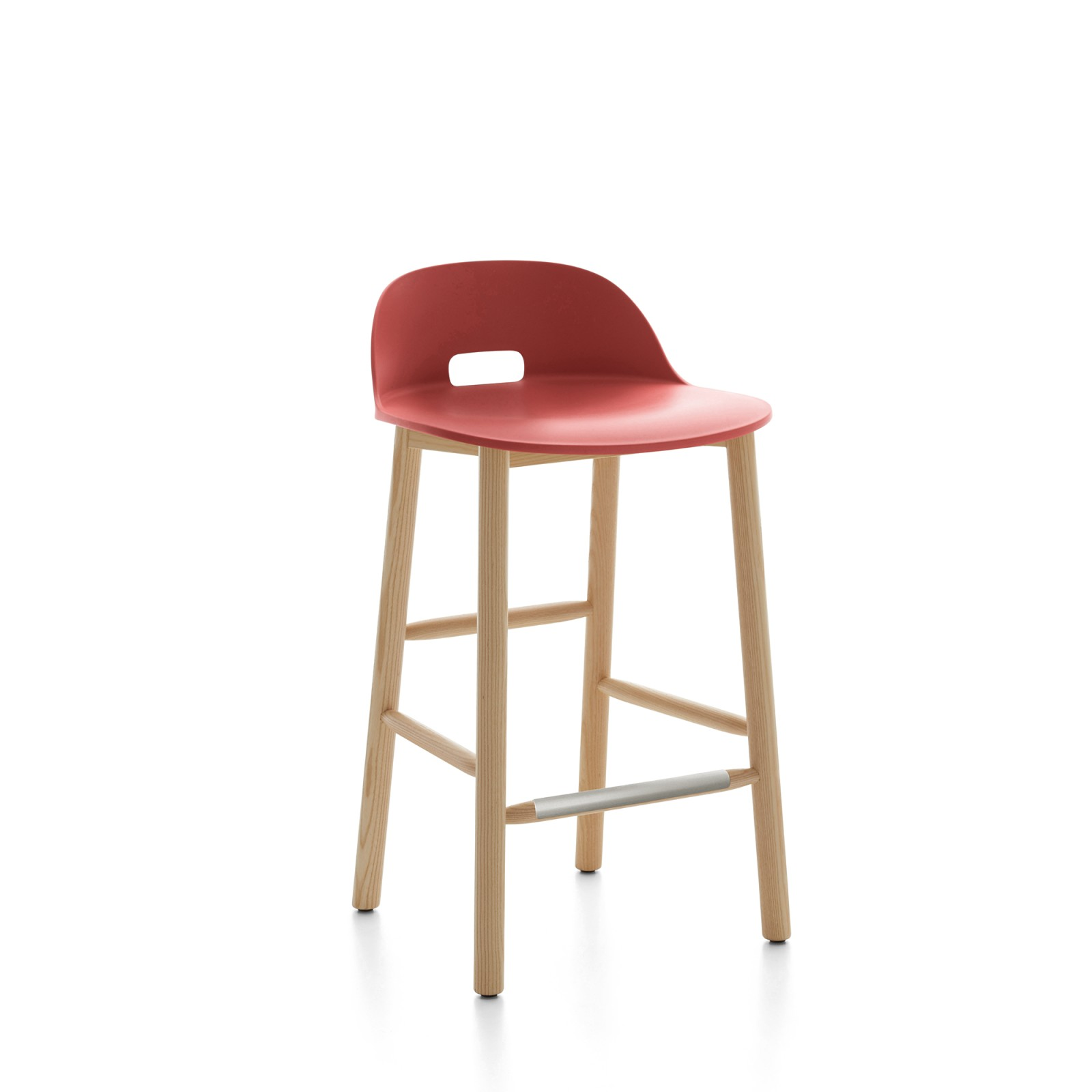 Alfi Counter Stool, Low Back Red, Natural Light Ash Frame