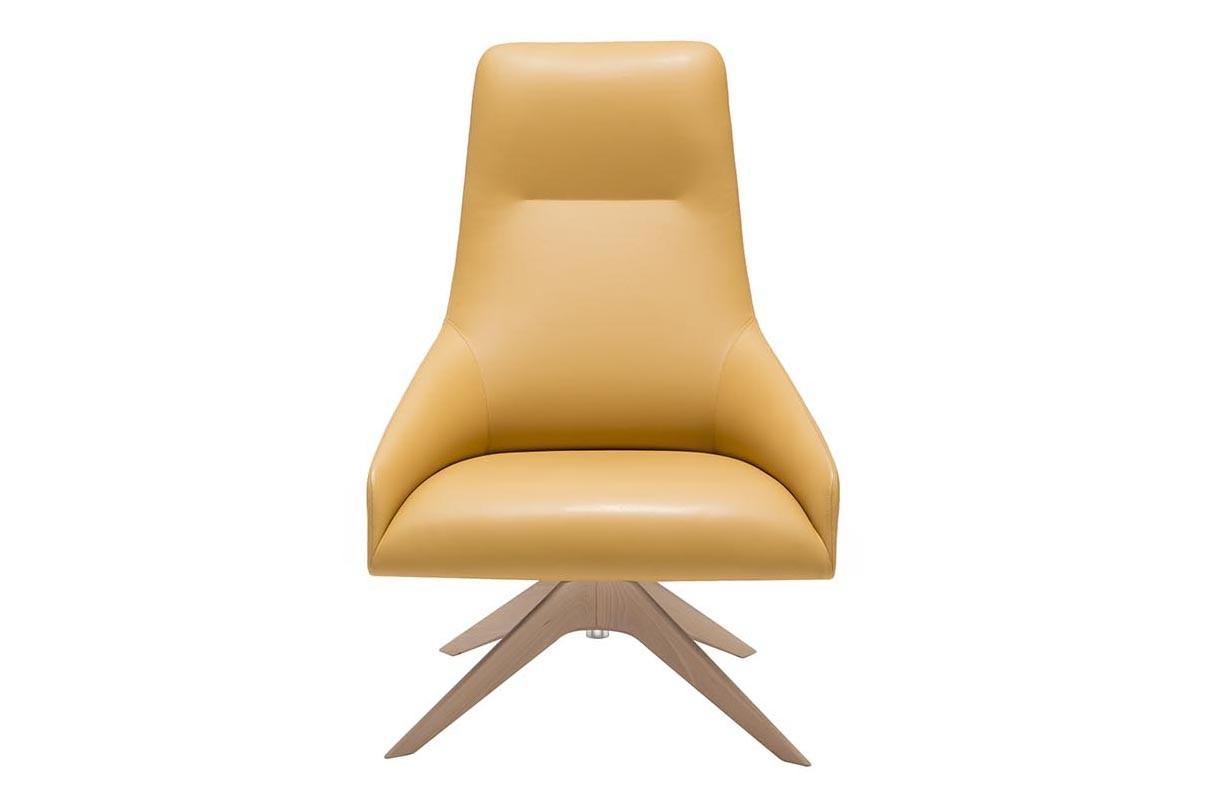 Alya Wood Base Swivel High Back Lounge Chair Wood finish Beech, Andreu World Leather L3