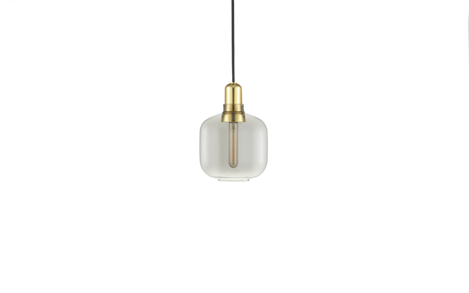 Amp Pendant Light Smoke/Brass, Small