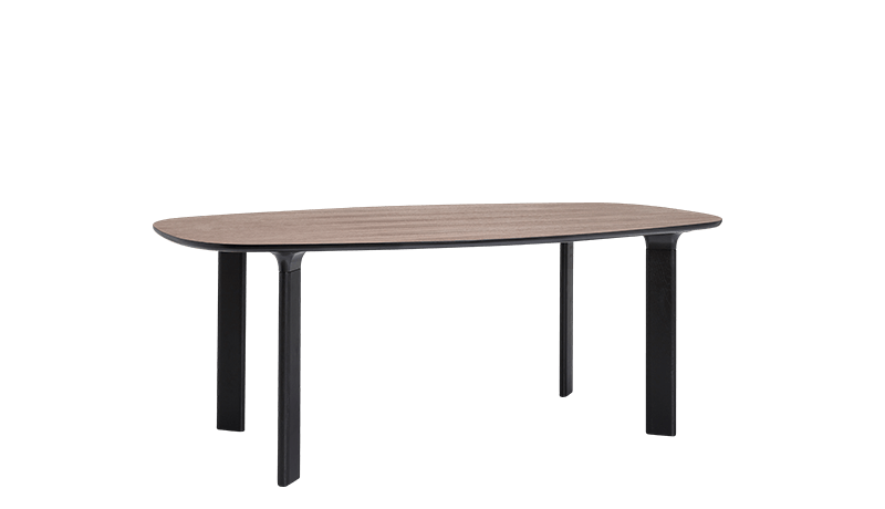 Analog Dining Table Medium, Walnut Veneer, Black Trumpet/Black Lacquered Oak
