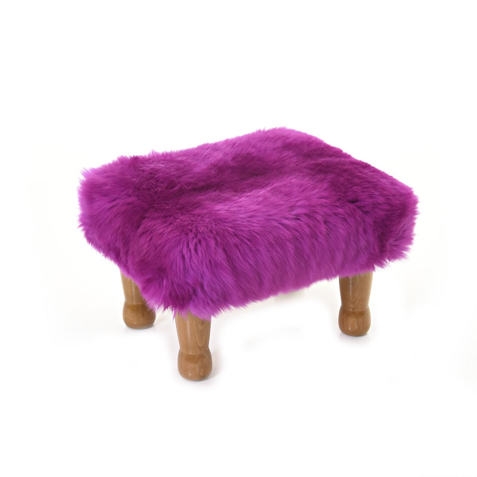 Anwen - Sheepskin Footstool Cerise