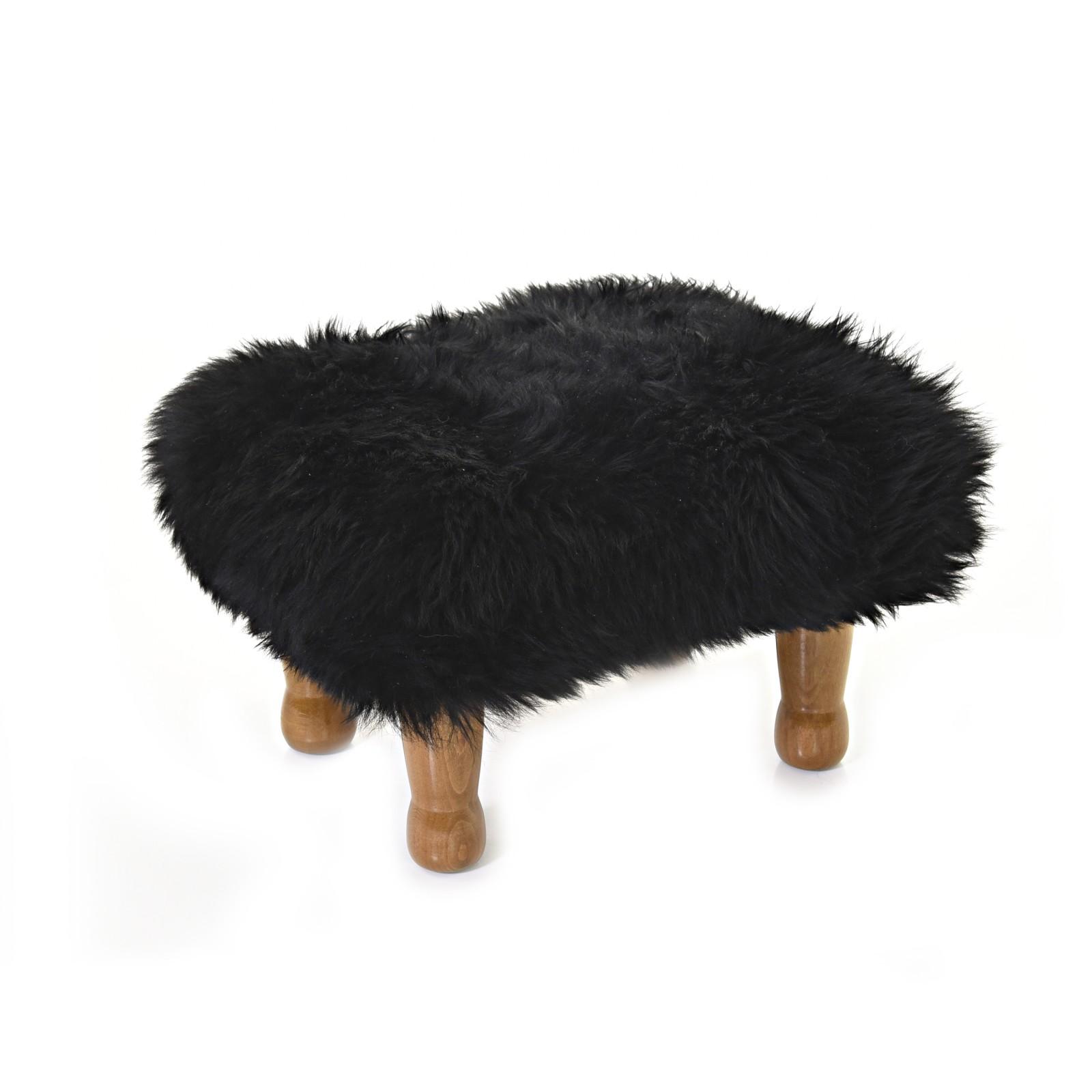 Anwen - Sheepskin Footstool Coal Black