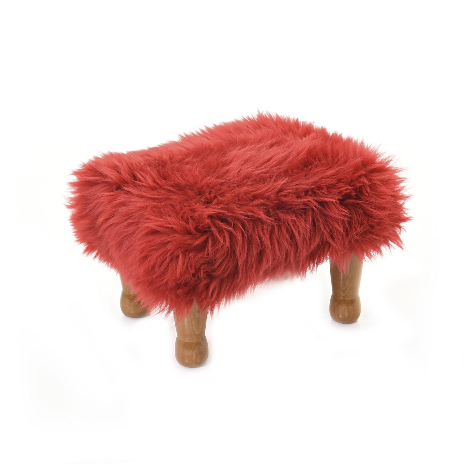Anwen - Sheepskin Footstool Dragon Red
