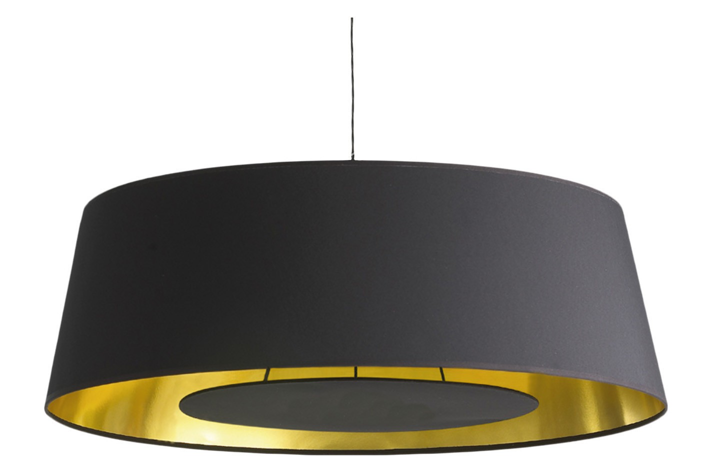 Apollonaire Shallow Pendant Light Black cotton 200cm satin nickel