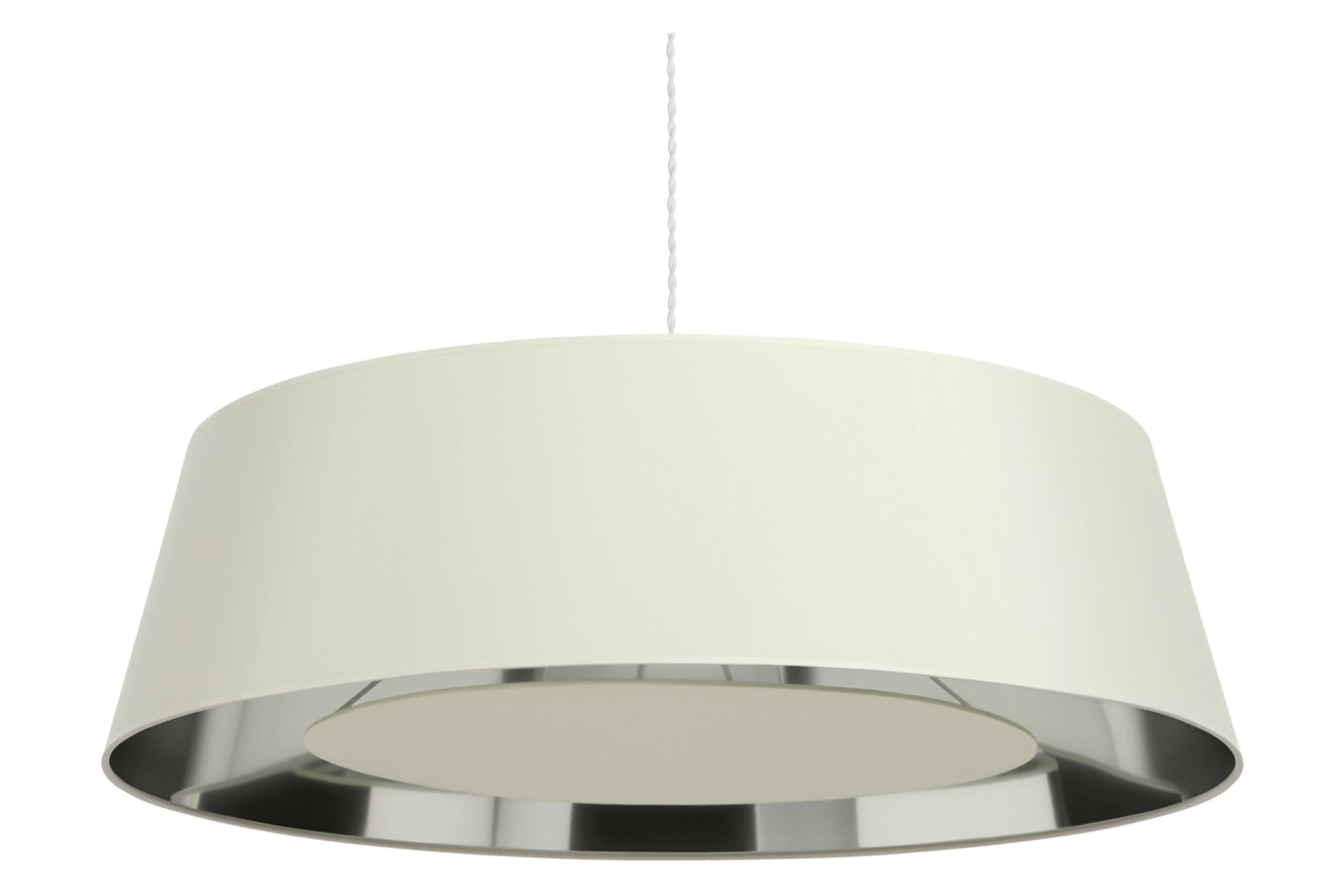 Apollonaire Shallow Pendant Light Ivory cotton 300cm satin nickel
