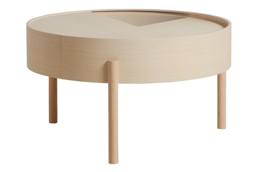 Arc coffee table White pigmented lacquered ash