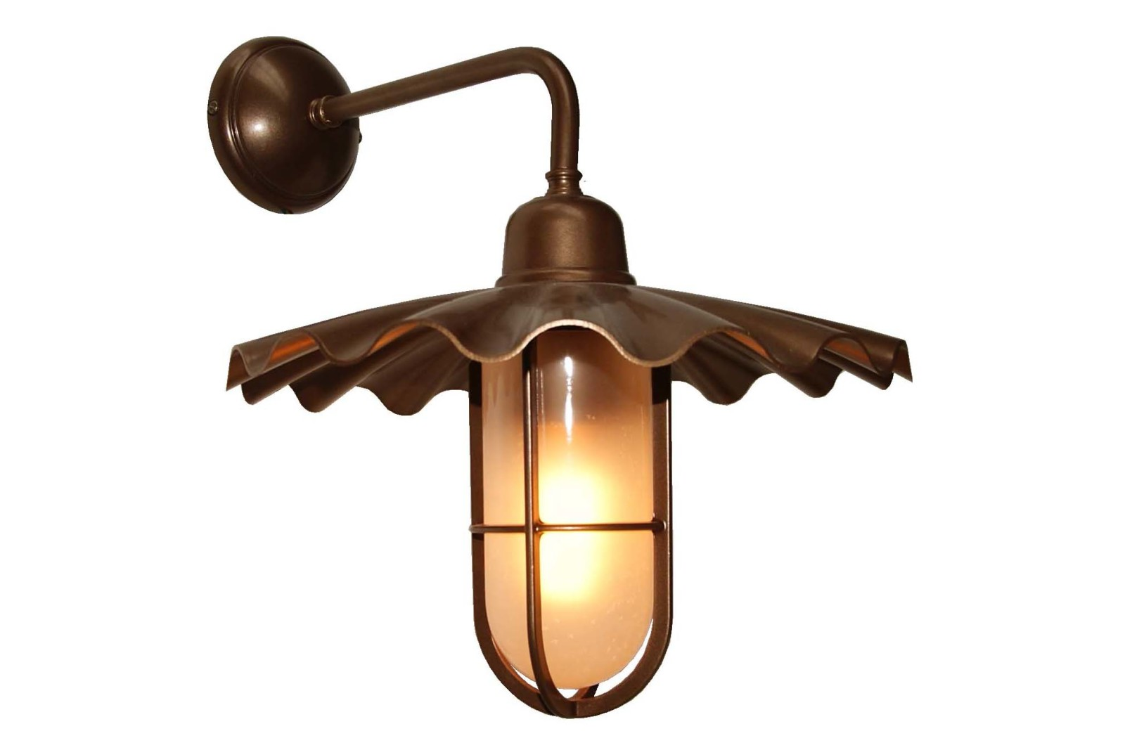 Ardle A Well Glass Wall Light Powder Coated Bronze, Frosted Glass
