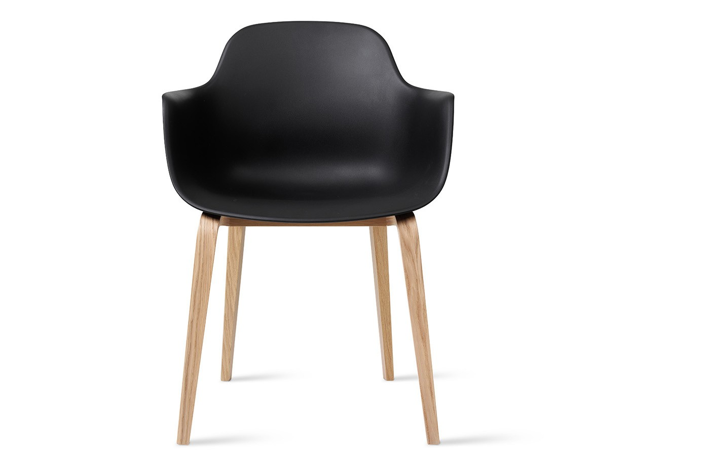 Arena Chair Wood Base Non-Upholstered White, Oak White Matte Lacquer