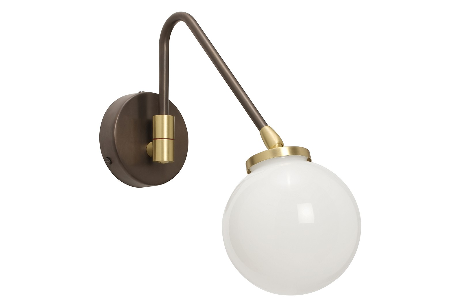 Array Single Wall Light Bronze with satin brass details and opal glass shade
