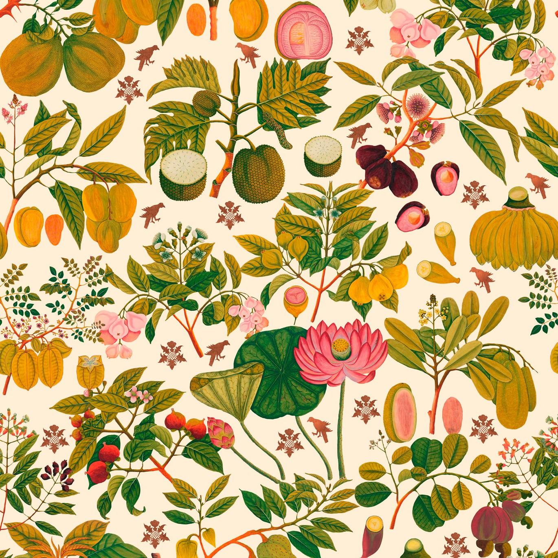 Asian Fruits & Flowers Wallpaper Original