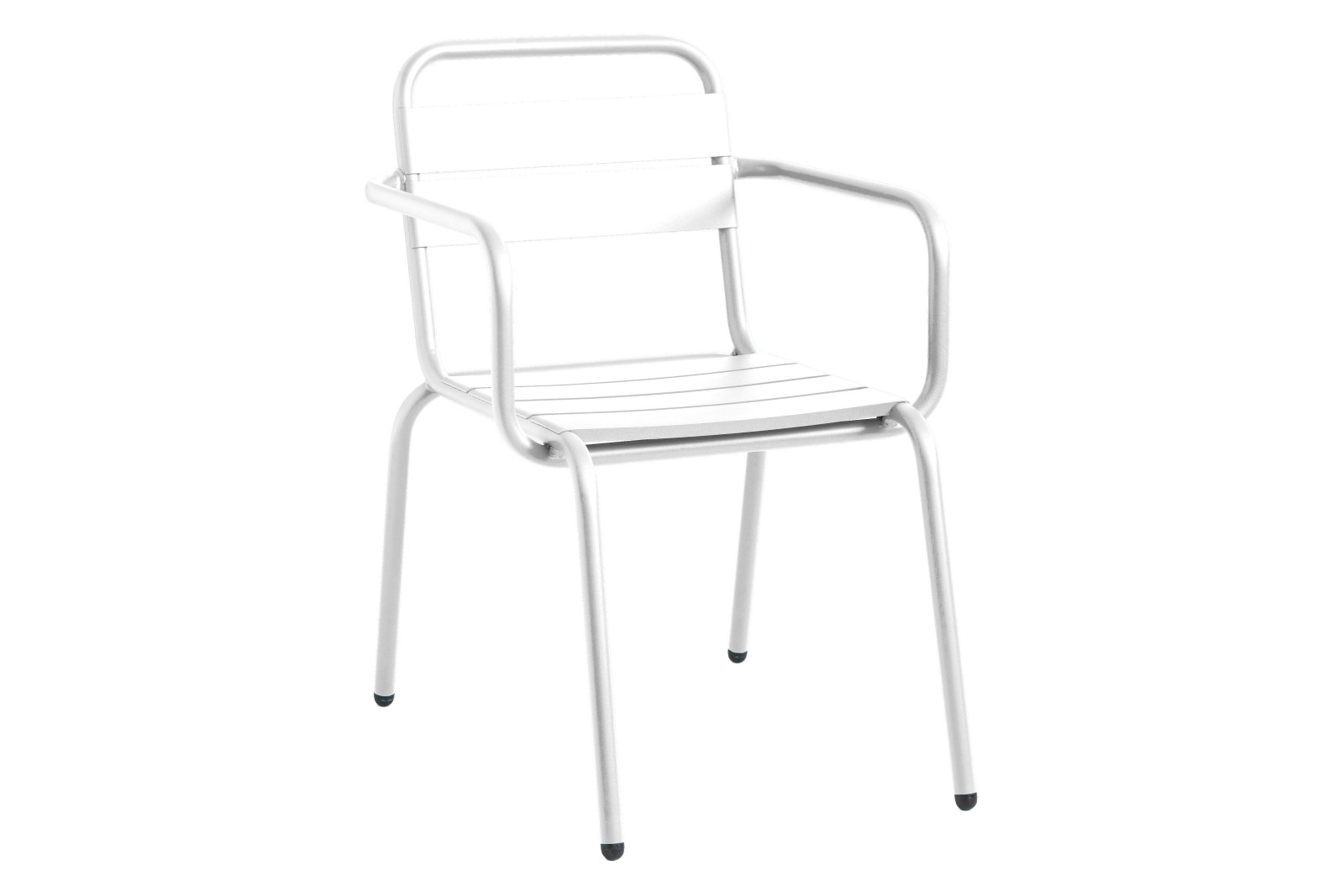 Barceloneta 4 Slats Dining Chair with Arms Set of 3 RAL 9016 Ibiza White