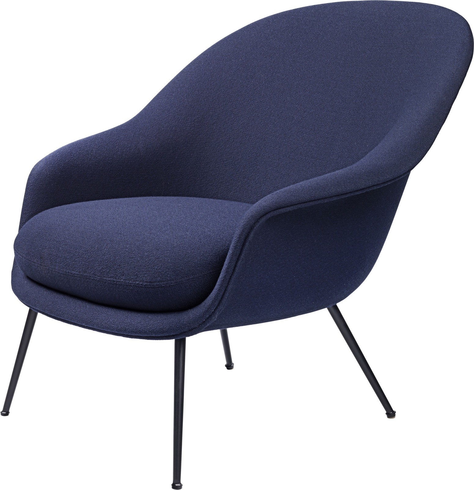 Bat Lounge Chair - Fully Upholstered, Low back, Conic base Gubi Metal Black, Price Grp. 01