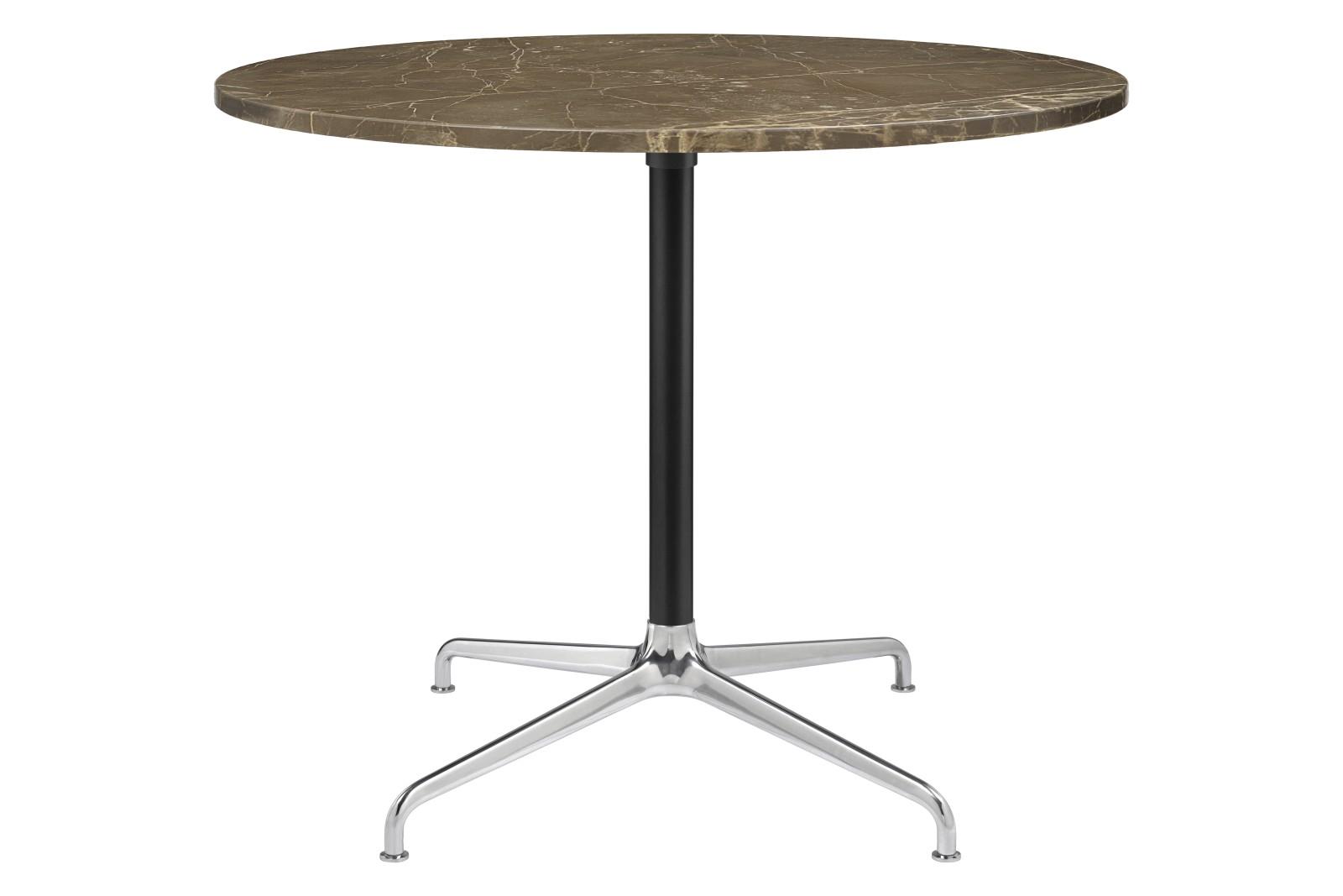 Beetle 4-Star Base Round Dining Table, Large Gubi Metal Polished Aluminium / Black Matt, Brown Emper