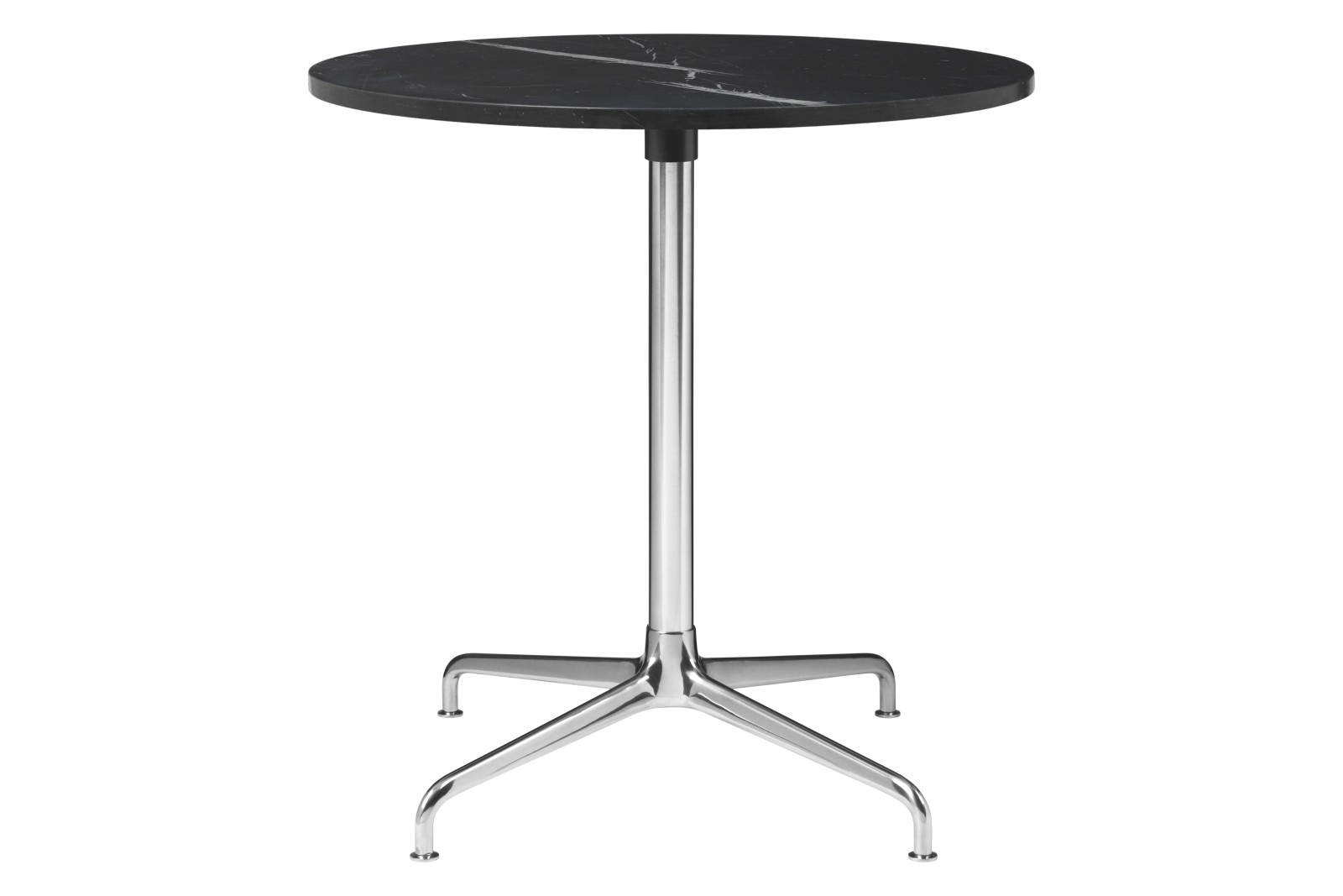 Beetle 4-Star Base Round Dining Table, Small Gubi Metal Polished Aluminium, Black Marquina Marble