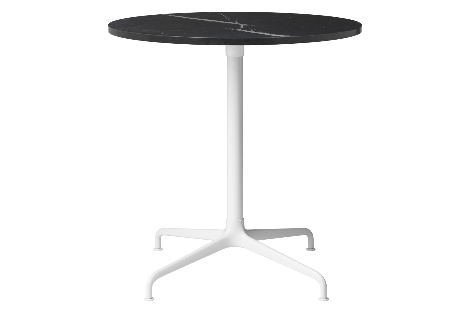 Beetle 4-Star Base Round Dining Table, Small Soft White Semi Matt Base, Black Marquina Marble