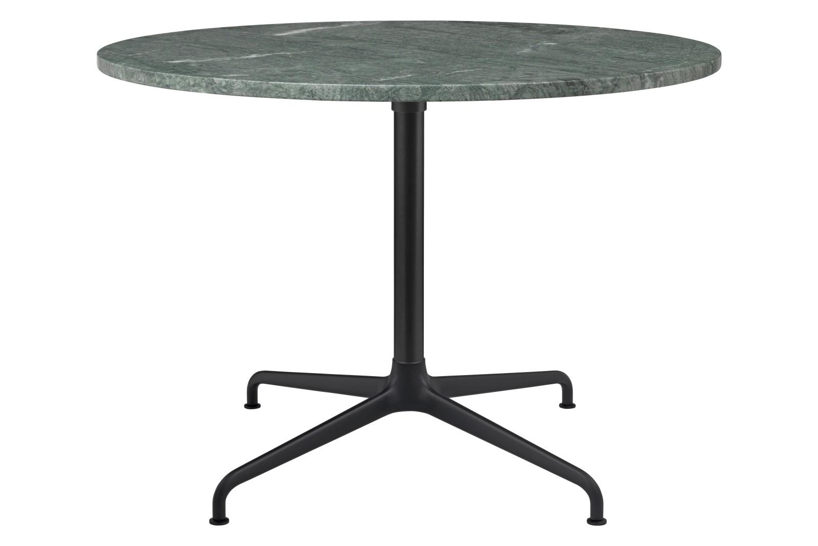 Beetle 4-Star Base Round Lounge Table, Large Gubi Metal Black Matt, Green Guatemala Marble
