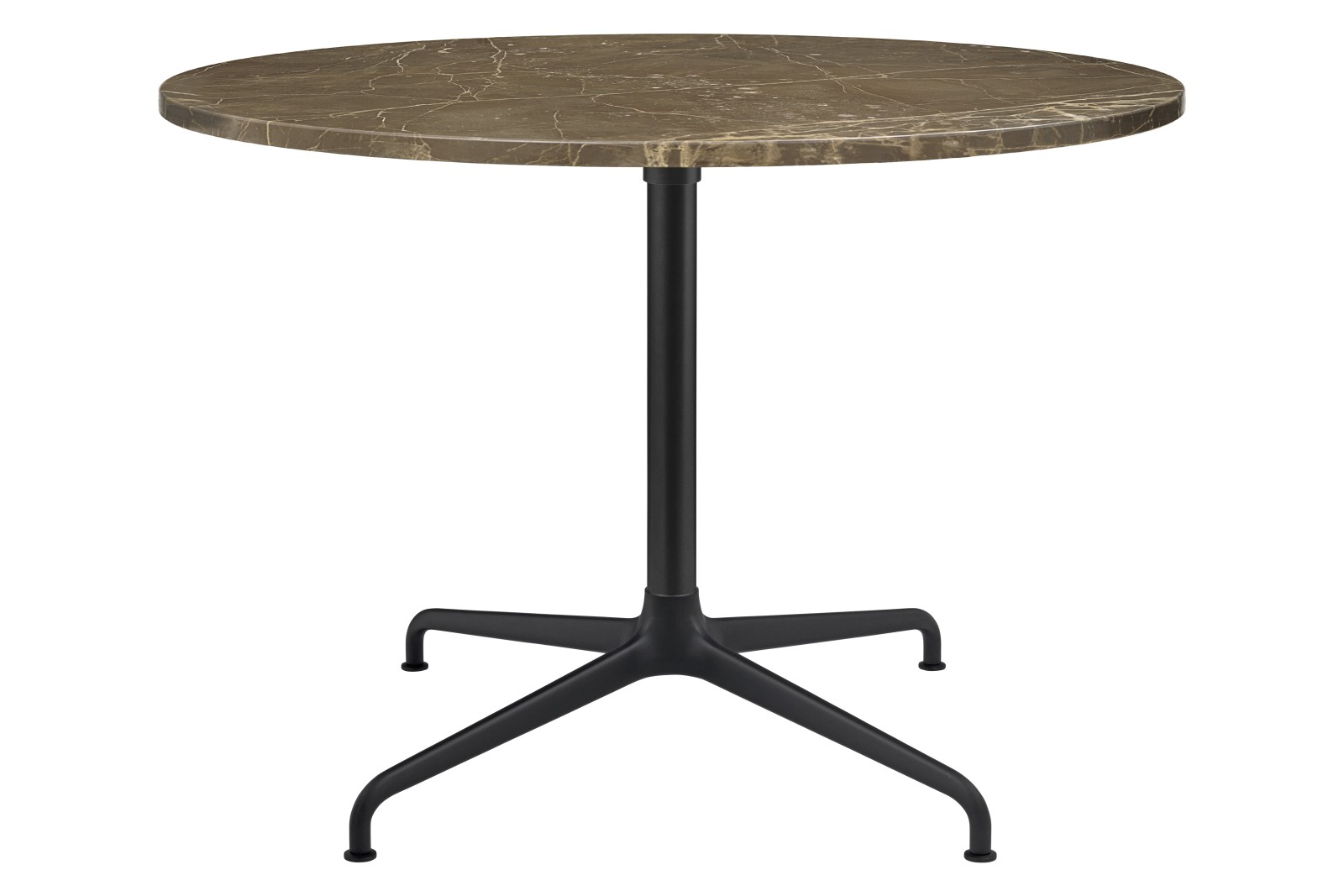Beetle 4-Star Base Round Lounge Table, Large Gubi Metal Black Matt, Brown Emperador Marble