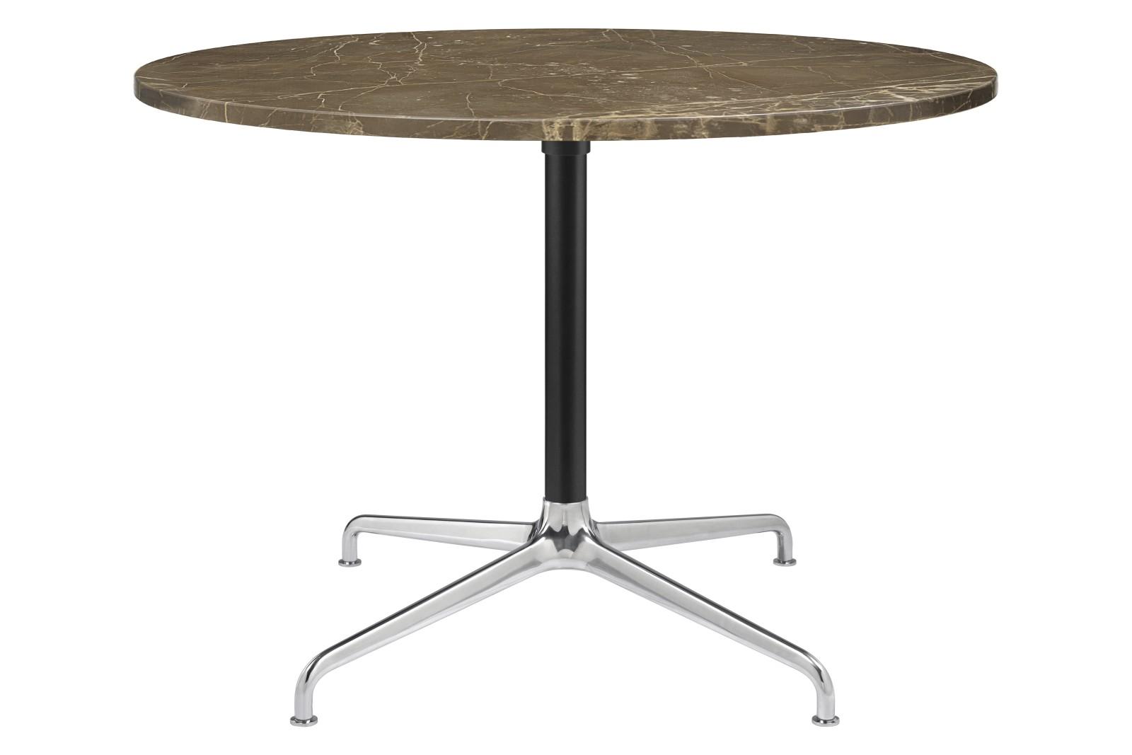 Beetle 4-Star Base Round Lounge Table, Large Gubi Metal Polished Aluminium / Black Matt, Brown Emper