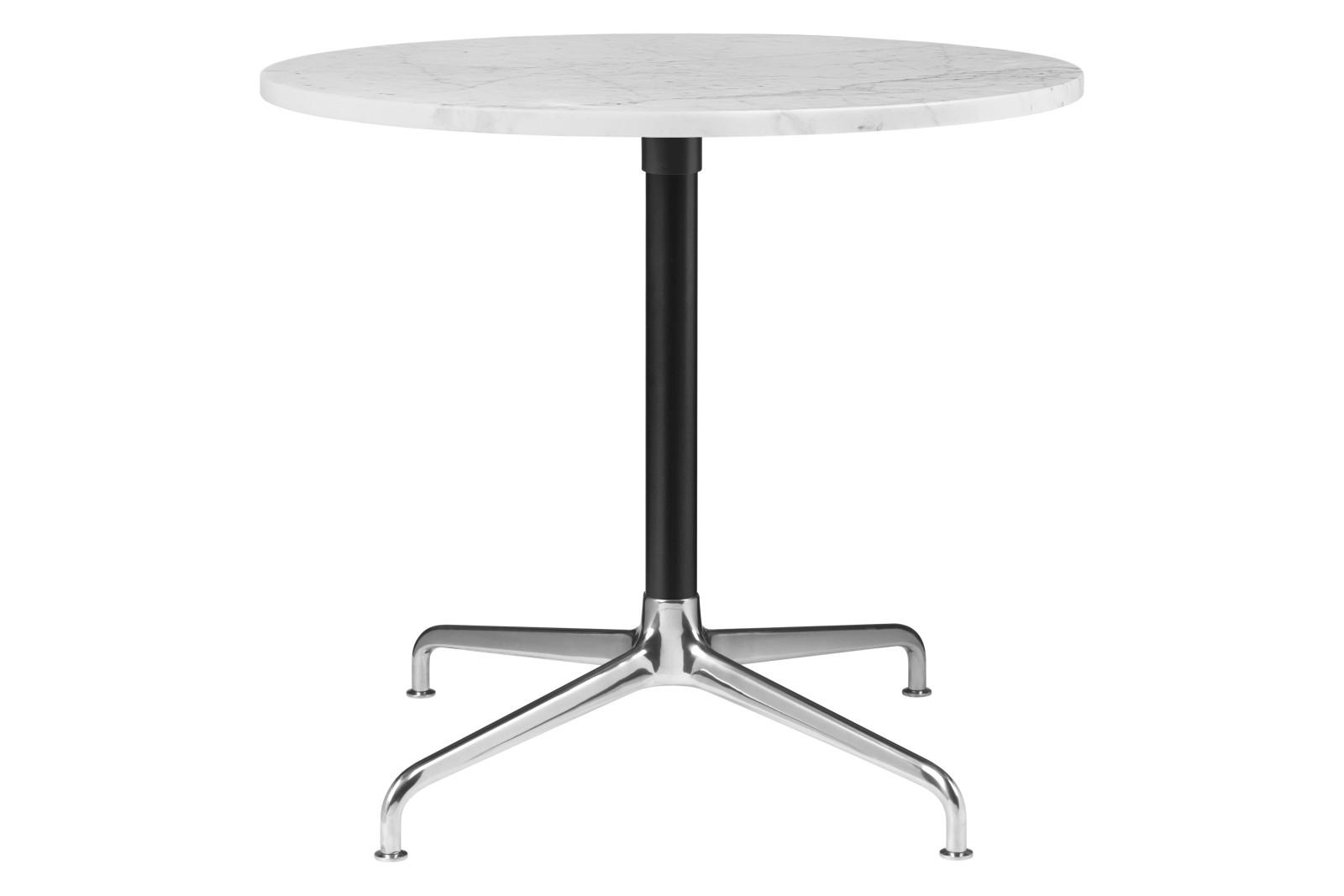 Beetle 4-Star Base Round Lounge Table, Small Gubi Metal Polished Aluminium / Black Matt, White Carra