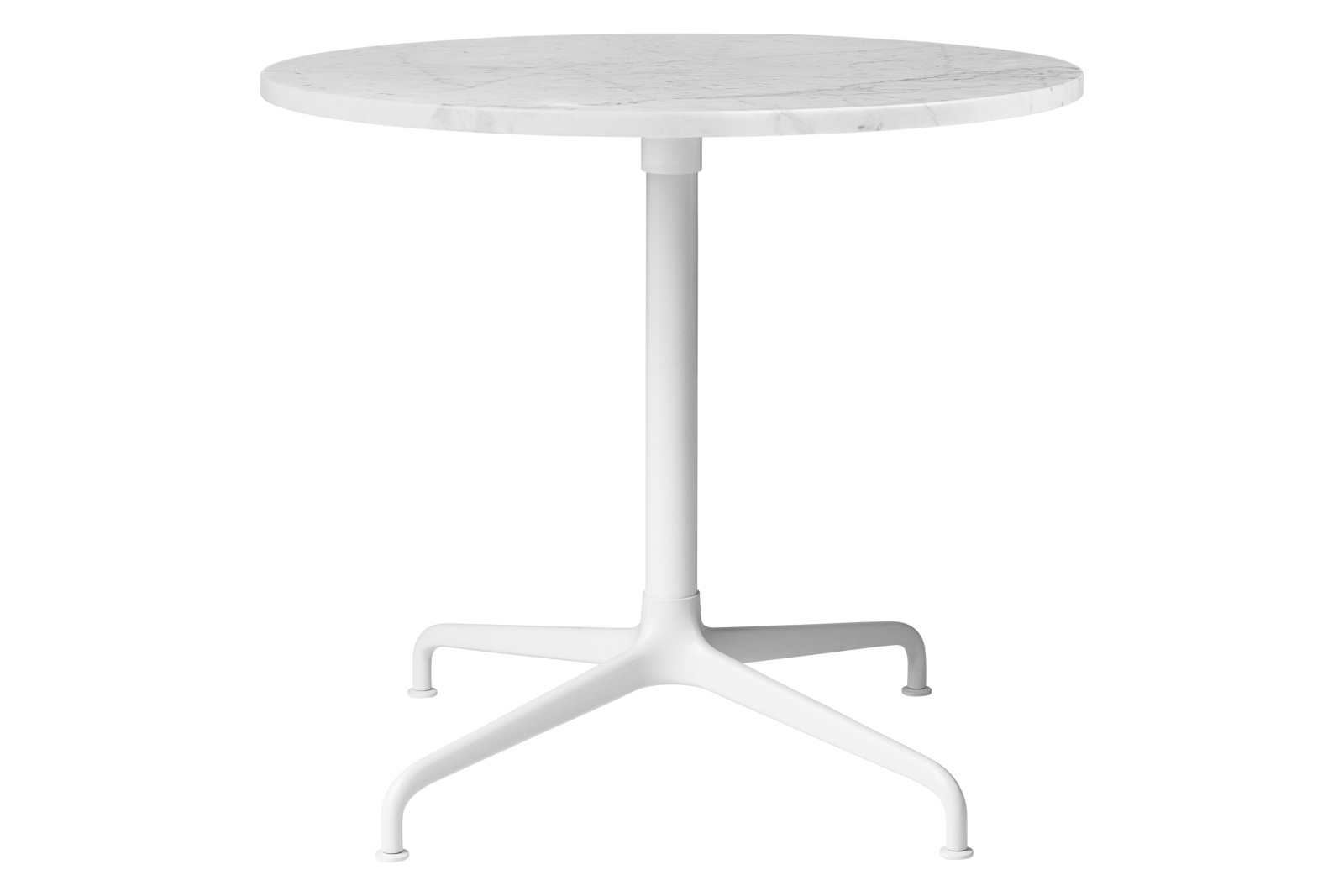 Beetle 4-Star Base Round Lounge Table, Small Soft White Semi Matt Base, White Carrara Marble