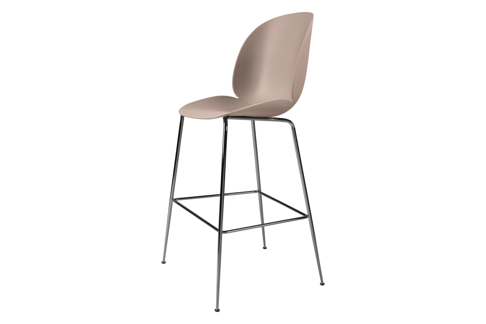 Beetle Bar Chair - Un-upholstered Conic base (Black Chrome Base, Sweet Pink, Plastic Glides)